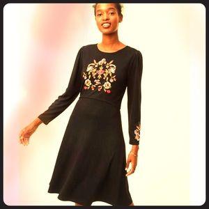 Ann Taylor LOFT embroidered black dress 12